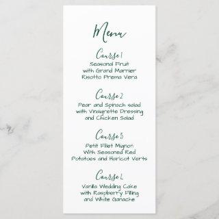 Monogrammed Crest and Forest Green Wedding menu