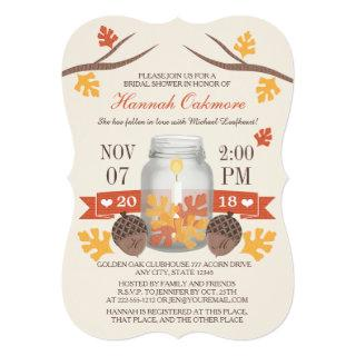 Monogrammed Fall Leaves Mason Jar Bridal Shower Invitations