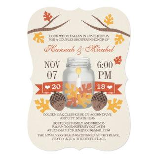 Monogrammed Fall Leaves Mason Jar Couples Shower Invitation