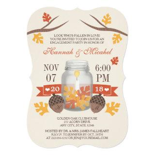 Monogrammed Fall Leaves Mason Jar Engagement Party Invitations