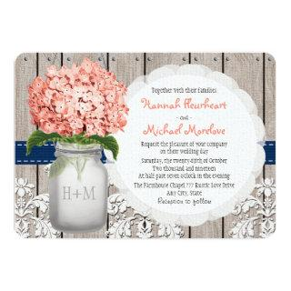 Monogrammed Mason Jar Coral Navy Hydrangea Wedding Invitation