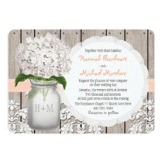 Monogrammed Mason Jar Peach Hydrangea Wedding Invitations