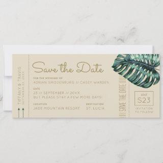Monstera Green and Tan Boarding Pass Save the Date Announcement