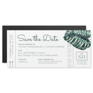 Monstera Leaf Boarding Pass Magnet Save the Date