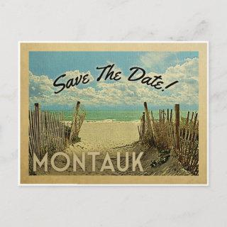 Montauk Save The Date Vintage Beach Nautical Announcement Postcard