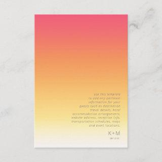 Mood Gradient Wedding Details Hot Summer ID741 Enclosure Card