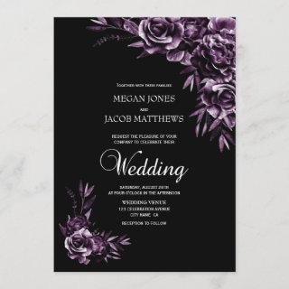 Moody Black and Purple Floral Wedding Invitations
