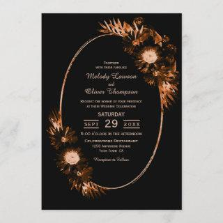 Moody Black with Burnt Orange Floral Wedding Invitation