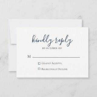 Moody Blue Metallic Wedding RSVP Card