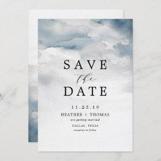Moody Blue Watercolor Elegant Save the Dates Invitations