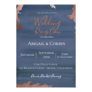 Moody Blue Wedding Reception Invitation