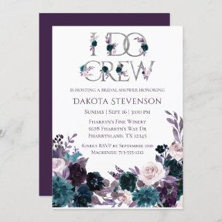 Moody Boho | Eggplant Plum I Do Crew Bridal Shower Invitation