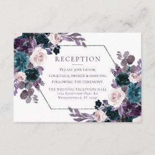 Moody Boho | Eggplant Plum Mauve Teal Reception Enclosure Card