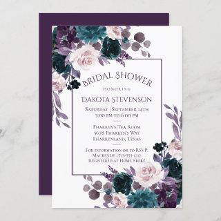 Moody Boho | Eggplant Purple Bouquet Bridal Shower Invitation