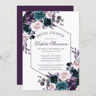 Moody Boho | Eggplant Purple Bouquet Bridal Shower Invitations