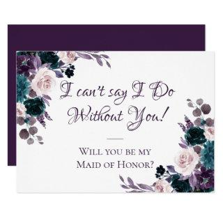 Moody Boho | Eggplant Purple Bridal Party Ask Invitation