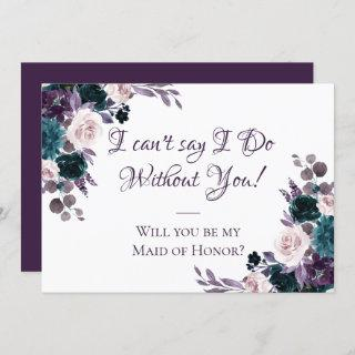 Moody Boho | Eggplant Purple Bridal Party Ask Invitations