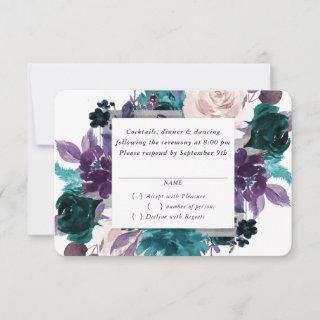 Moody Boho | Eggplant Purple Dark Floral Wedding RSVP Card