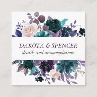 Moody Boho | Eggplant Purple Floral Accommodations Enclosure Card