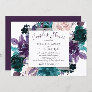 Moody Boho | Eggplant Purple Floral Couple Shower Invitation