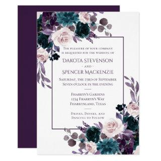 Moody Boho | Eggplant Purple Floral Frame Wedding Invitations