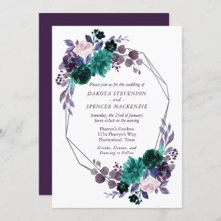 Moody Boho | Eggplant Purple Floral Geometric Invitations
