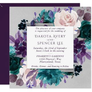 Moody Boho | Eggplant Purple Floral Silver Frame Invitations