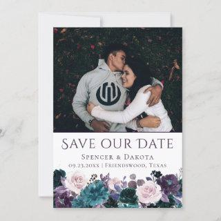 Moody Boho | Eggplant Purple Mauve Floral Photo Save The Date