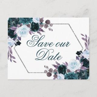 Moody Boho   Teal and Purple Flora Save the Date Postcard