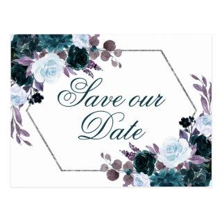 Moody Boho | Teal and Purple Flora Save the Date Postcard