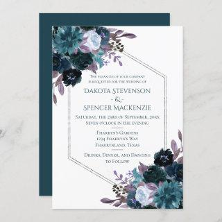 Moody Boho | Teal Dark Plum Elegant Wedding Invitation