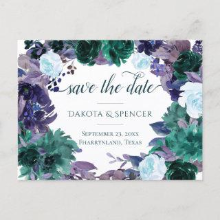 Moody Boho | Teal Purple Bouquet Save the Date Announcement Postcard