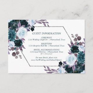 Moody Boho | Teal Purple Dark Floral Accommodation Enclosure Card