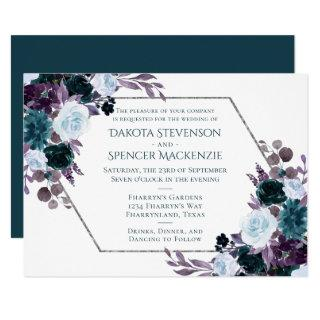 Moody Boho | Teal Purple Flora Geometric Wedding Invitation