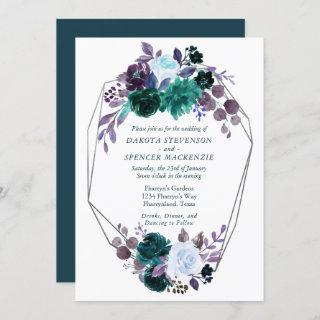 Moody Boho | Teal Purple Flora Geometric Wedding Invitations