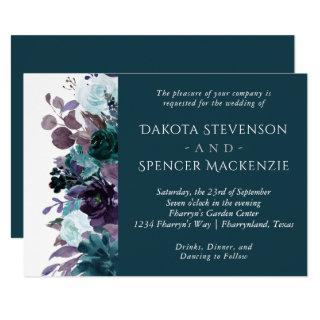 Moody Boho | Teal Purple Floral Garden Wedding Invitations
