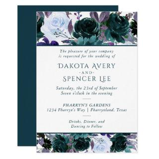 Moody Boho | Teal Turquoise Purple Garland Wedding Invitations