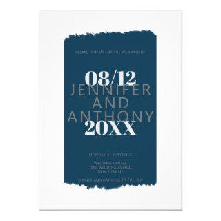 Moody colors navy blue paint brushstroke wedding Invitations