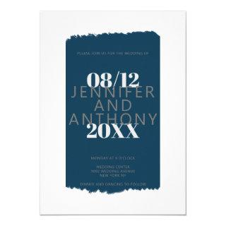 Moody colors navy blue paint brushstroke wedding invitation