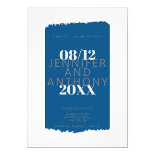 Moody colors royal blue paint brushstroke wedding invitation