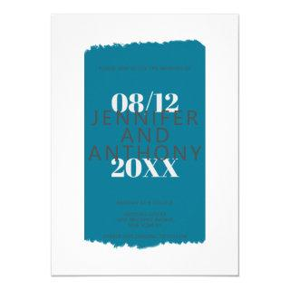 Moody colors teal blue paint brushstroke wedding invitation