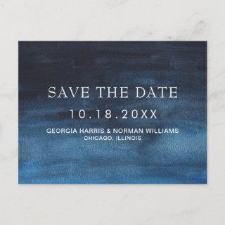 Moody Dark Navy Blue Watercolor Wash Save the Date Announcement Postcard