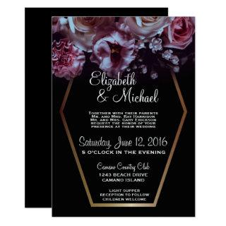 Moody Floral & Black Wedding Invitations