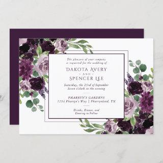 Moody Passion | Dramatic Purple Bouquets Wedding Invitation