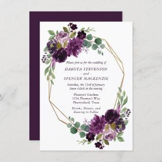 Moody Passion | Dramatic Purple Floral Gold Frame Invitations
