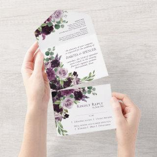 Moody Passion   Purple Floral Wedding Meal Choice All In One