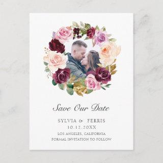 Moody Plum Floral Photo Save the Date Announcement Postcard