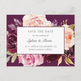 Moody Plum Floral Save the Date Announcement Postcard