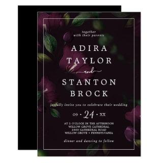 Moody Purple Blooms | Black Pattern Wedding Invitation