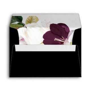 Moody Purple Blooms | Black Wedding Invitation Envelope